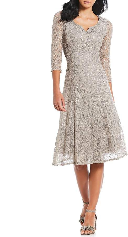 15115f316e9 Ignite Evenings Sequin Lace A-Line Midi Dress  Sequin Evenings Ignite