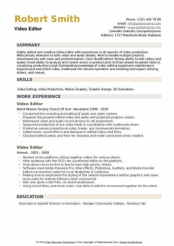 Video Editor Resume Samples Qwikresume Video Resume Job Resume Examples Resume