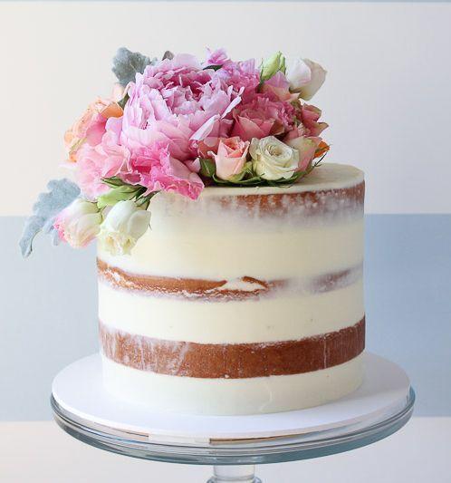 semi-naked layer cake by Sugablossom Cakes