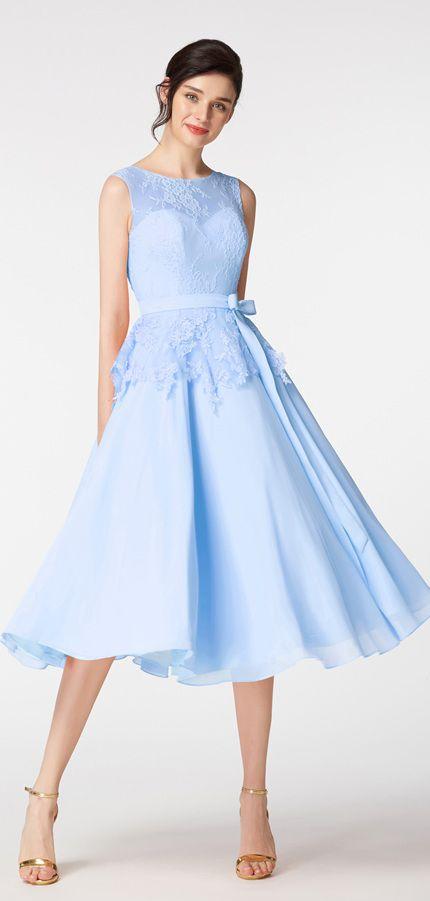 light blue short prom dresses tea length ball gown prom dress