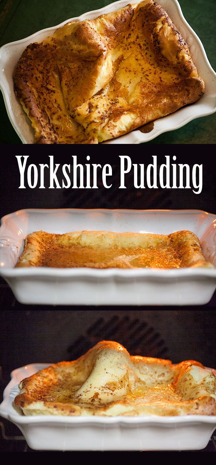 Traditional Yorkshire Pudding! Serve with roast beef, batter of flour, salt, eggs, butter, milk, cooked in pan with roast drippings. On SimplyRecipes.com