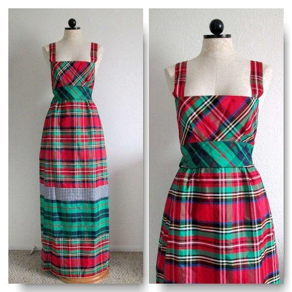 Bousecraft by Maxime de la Falaise Plaid Taffeta Deadstock Maxi Dress Gown NWT- Size 8  VintageHag.com