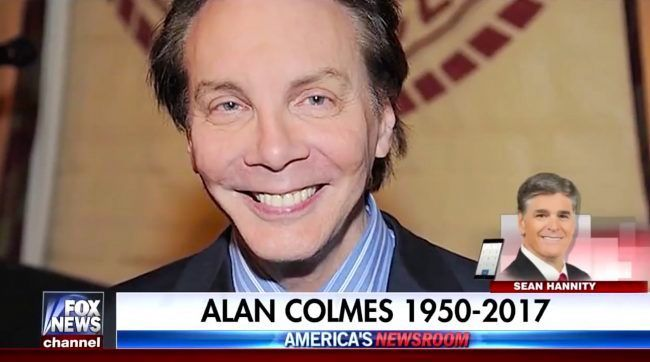 Sean Hannity (@seanhannity) | Twitter---    I watched Hannity & Colmes for years; Alan was a fierce liberal and fighter for his beliefs. RIP Alan; so sorry for your family.
