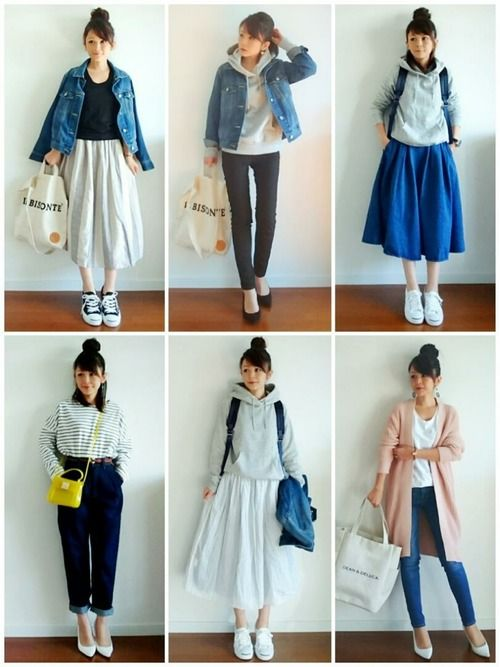 Top middle outift: black pants, weater and jean jacket