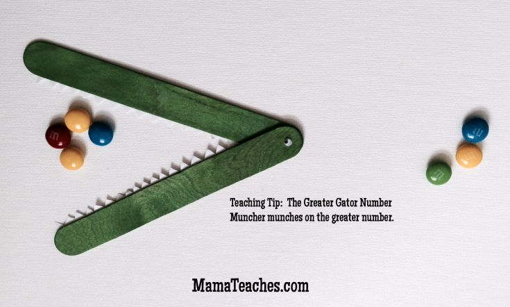 Ready to start teaching greater than/less than? Learn how to make an easy Greater Gator Number Muncher homeschool math activity. MamaTeaches.com