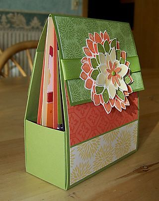 Flap box 10 Tutorial: I'm not a stamping pro, I just make cards every once in a blue moon. But, I saw this and I love it! What a great gift idea and storage idea, too.