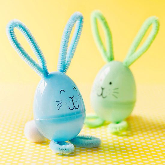 Craft time! Toddlers can bend the pipe cleaner ears and feet for these silly #Easter egg bunnies.