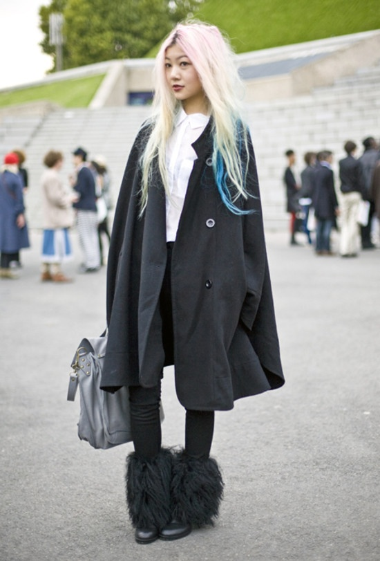 Rainbow hair and furry boots! OBSESSED! Gwyneth, Paris