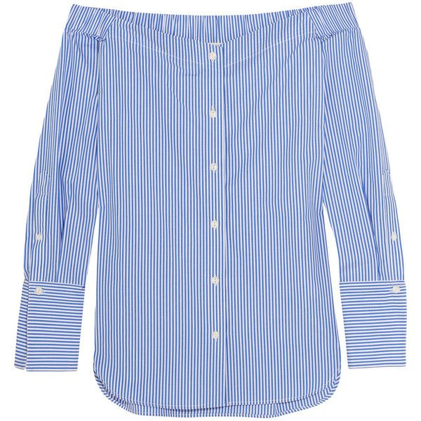 Rag & bone Kacy off-the-shoulder striped cotton-poplin blouse ($430) ❤ liked on Polyvore featuring tops, blouses, blue, striped top, striped off shoulder top, blue stripe blouse, stripe blouse and blue off the shoulder top