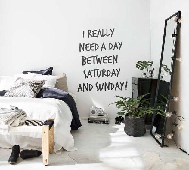 Our wall art quote **I REALLY NEED A DAY BETWEEN SATURDAY AND SUNDAY** brings a piece of urban lifestyle right into your home directly to the wall. Easy to apply and without stress of renovation –...