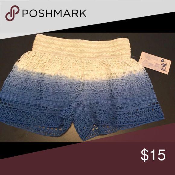 NEW JOLT CROCHET LINED OMBRÉ JUNIORS SHORTS SIZE S New with tags JOLT crochet lined junior shorts ombré with blue. Jolt Shorts