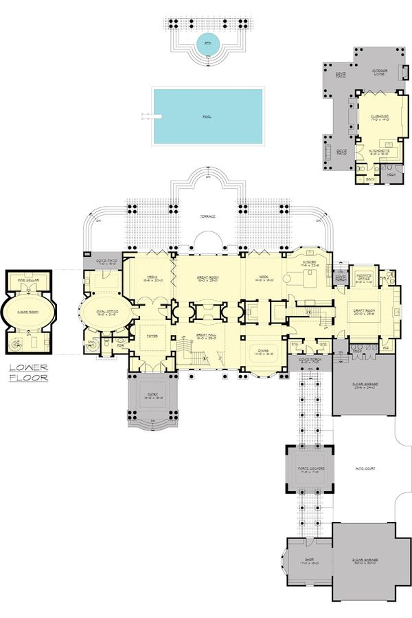 Traditional Style House Plan 4 Beds 7 Baths 9820 Sq Ft Plan 132 217 House Plans Mansion Floor Plan One Bedroom House Plans