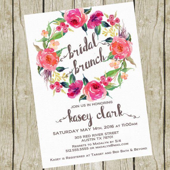 Bridal Shower Invitation Brunch. Bridal Shower Brunch Invitation Printable, Floral Bridal Shower Invites. Bridal Shower Invitation Floral.