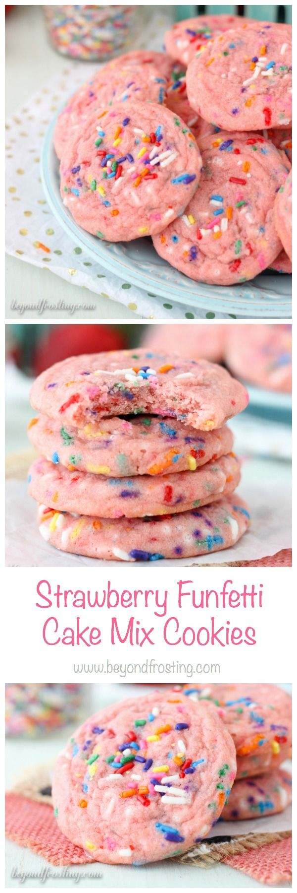 Take your funfetti cookies to the next level with the strawberry cake mix. These Strawberry Funfetti Cake Mix Cookies are so soft and chewy, they will be your new favorite cookie.