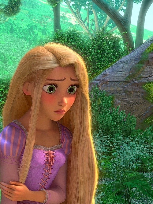 Tangled-Her hair separated from the rest to show her feeling of lost connection to her tower home.