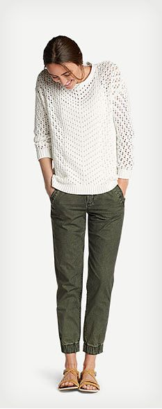 Women's casual Fall outfit featuring Peakaboo Pullover Sweater, Layering Cami - Solid, Adventurer® Ripstop Jogger Pants - Slightly Curvy and Eddie Bauer Belmont sandals