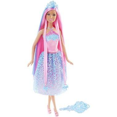 Barbie lang haar prinsespop - blauw  Met haar prachtige roze lange haren met blauwe highlights zal Barbie ongetwijfeld de show stelen! Style het haar van deze mooie pop met de verschillende accessoires.  EUR 16.99  Meer informatie