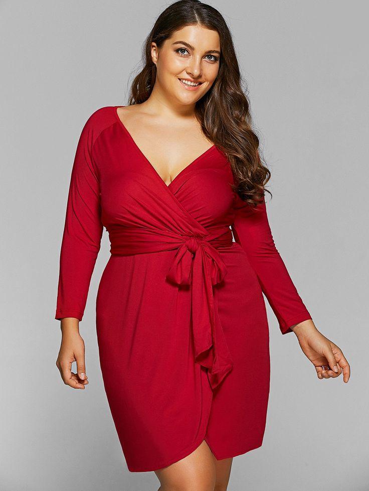 Long Sleeve Plus Size Wrap Dress - CLARET #women #dress #style