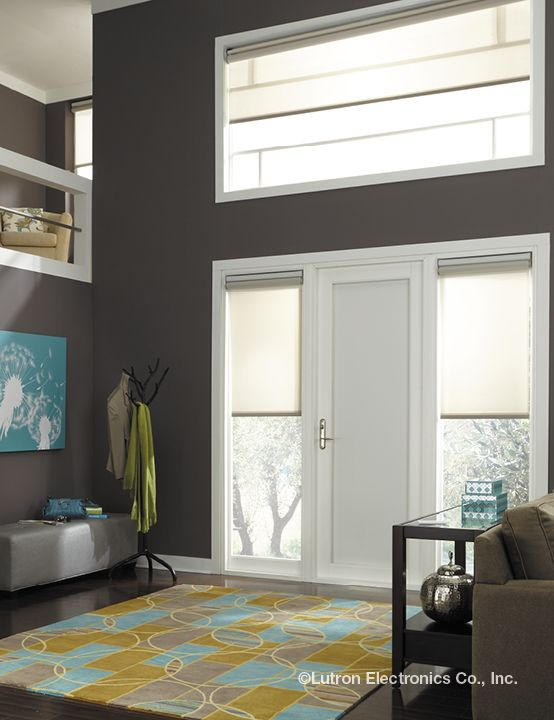 Automatic shades help control those hard to reach places. Close the blinds to block out the bright sun.