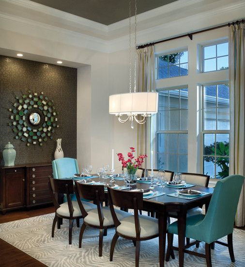 Formal Dining Room Design, Pictures, Remodel, Decor and Ideas in Teal, brown and white