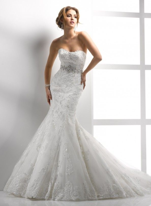 embellished corded lace and tulle mermaid trumpet wedding dress ideas : Embellished Corded Lace And Tulle Mermaid Trumpet Wedding Dress Ideas