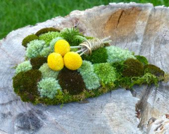 Wedding ring pillow, Ring bearer pillow, Heart ring holder, Moss and hydrangea ring pillow, Eco weddings, Natural weddings, Rustic weddings