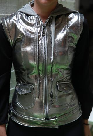 SugarFree Shiny Silver Vest, with Hood