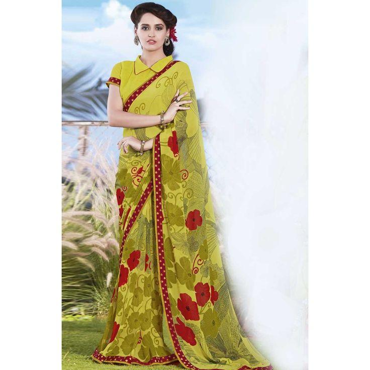 Saree rabais en ligne, jaune faux georgette diwali sari, maintenant dans la boutique. Andaaz Fashion apporte la plus récente collection de vêtements ethniques concepteur