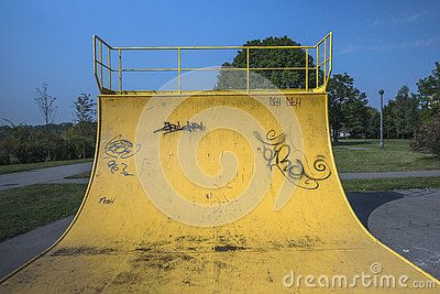 Yellow ramp Skate Park in the area of Krakow, Nowa Huta. Poland .