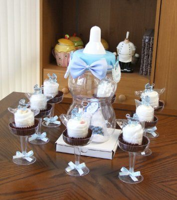 Perfect Baby Shower Centrepiece DIY Kit: Giant Baby Bottle Bank U0026 Diaper Cupcakes    Blue: