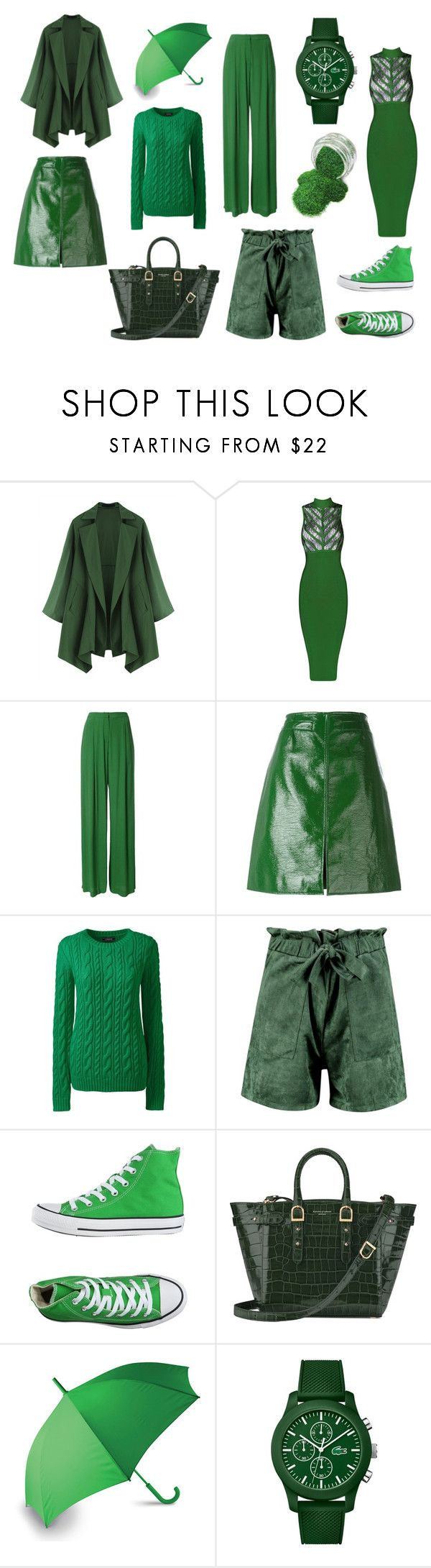 """GREEN"" by carme-vidal on Polyvore featuring moda, Bianca Spender, Courrèges, Lands' End, Boohoo, Converse, Aspinal of London, LEXON y Lacoste"