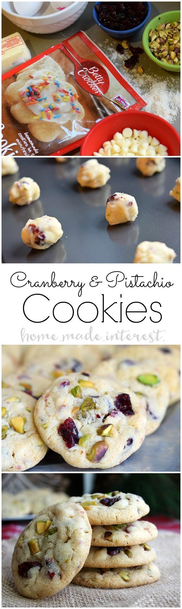 This easy Christmas cookie recipe is a simple sugar cookie packed with white chocolate, dried cranberries, and pistachios.#SpreadCheer #ad