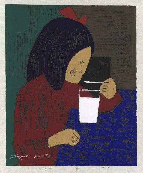 Kiyoshi Saito, Milk, 1948 woodblock print