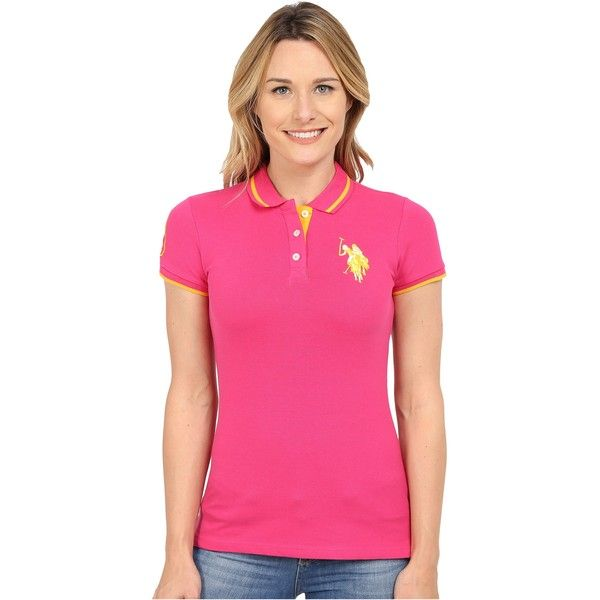 U.S. POLO ASSN. Solid Pique Polo Shirt (Pink Paradise) Women's Short... ($20) ❤ liked on Polyvore featuring tops, grey, short sleeve polo shirts, grey polo shirts, stretch top, polo shirts and pink polo shirts