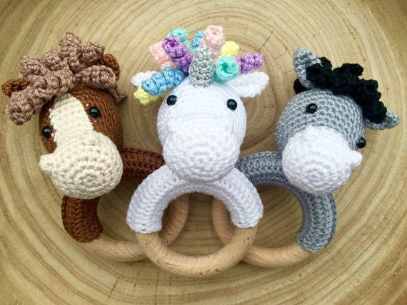 CROCHET PATTERN rattle horse extra donkey and unicorn por KNUFL