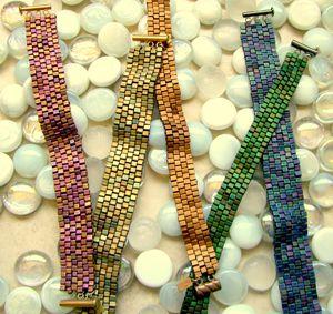 So pretty, Peyote with squares    Hand Beaded Peyote Stitch Bracelets Santa Barbara
