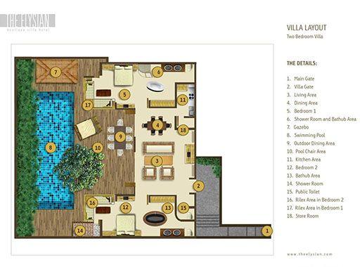 two bedroom villa layout in Seminyak