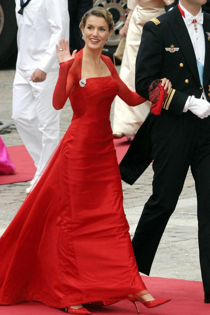 Attending the wedding of Crown Prince Frederik of Denmark & Mary Donaldson in Copenhagen on 14 May 2004, a week before her wedding to Felipe, Prince of Asturias