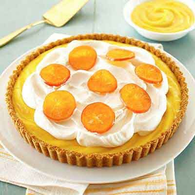 The homemade candied tangerine slices take this tart over the top.