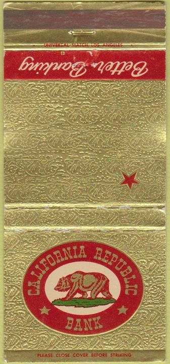 California Republic Bank Matchbook with Bear Flag | Bear Flag Museum