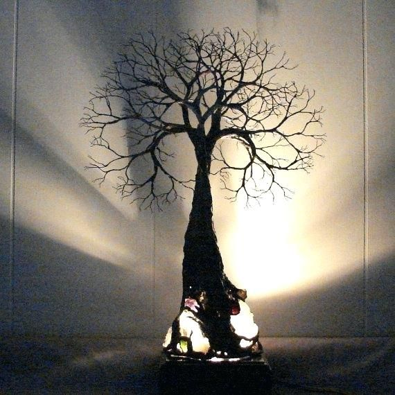 Wire Tree Wall Hanging Home Decor Sculpture Of Life Grand Old Quartz Crystal Wood Base Lamp Spring Handmade Unique Gift Metal