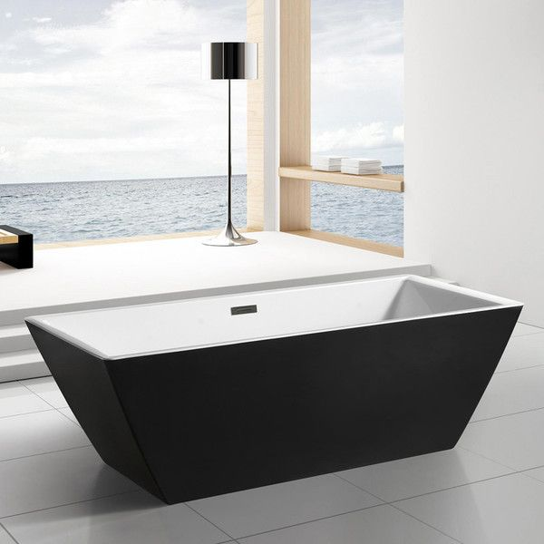 black white rectangular freestanding tub