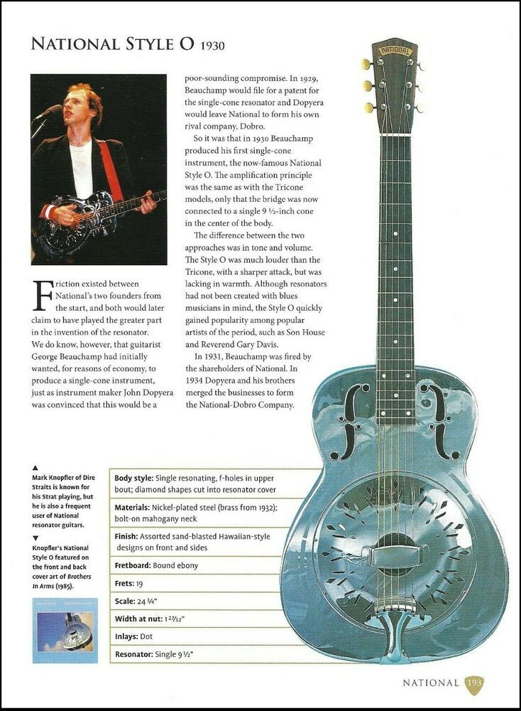 dire straits mark knopfler national style o + studio 66 guitar 9 x 7  article #national