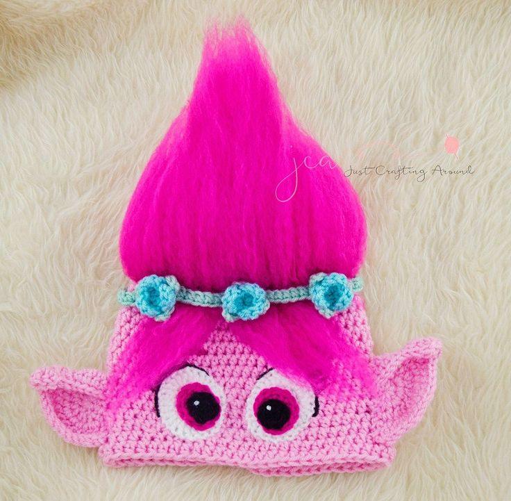 Free Poppy troll hat crochet pattern