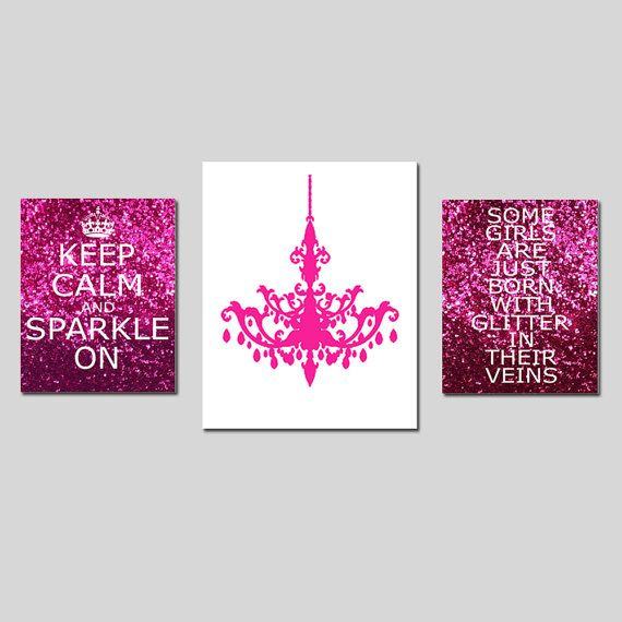 Keep Calm and Sparkle On Chandelier Glitter Veins  Set by Tessyla, $65.00