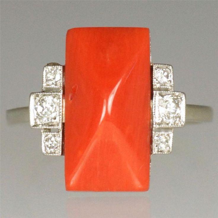 Genuine Art Deco 18ct White Gold Coral & old cut Diamond Antique Ring circa 1920