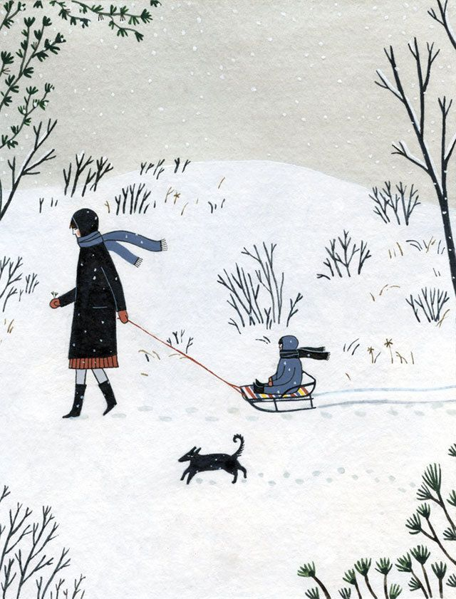 illustration, design, drawing, winter, snow sledge, cute, painting