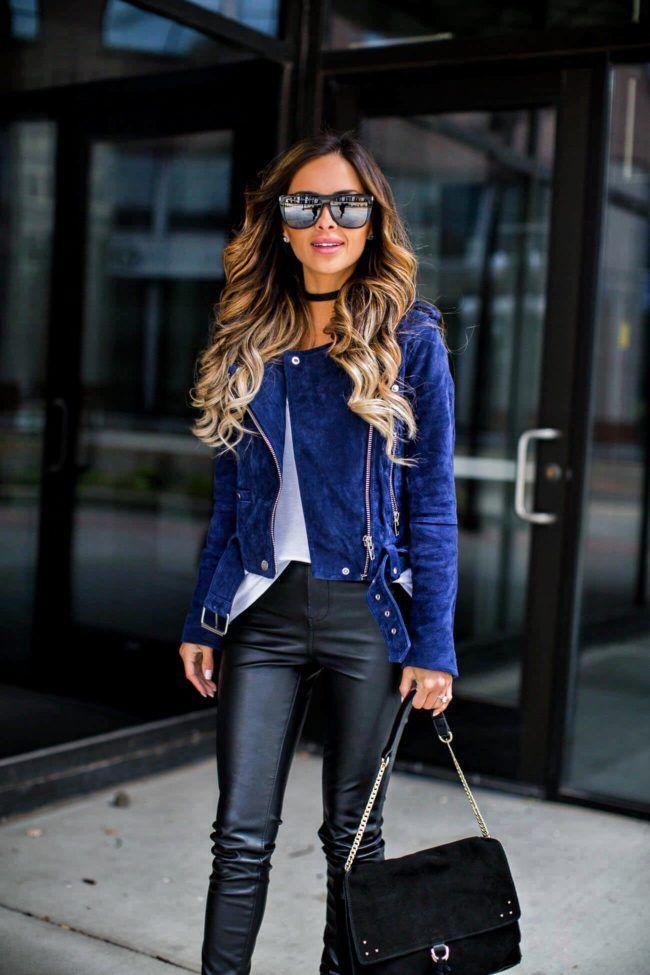 Fashion blogger Mia Mia Mine wearing a blanknyc moto jacket and a sole society black choker