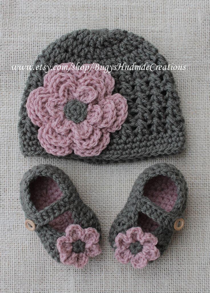 Girls Cross Stitch crochet Hat and crochet baby shoe set.Dark Grey.. $35.00, via Etsy.