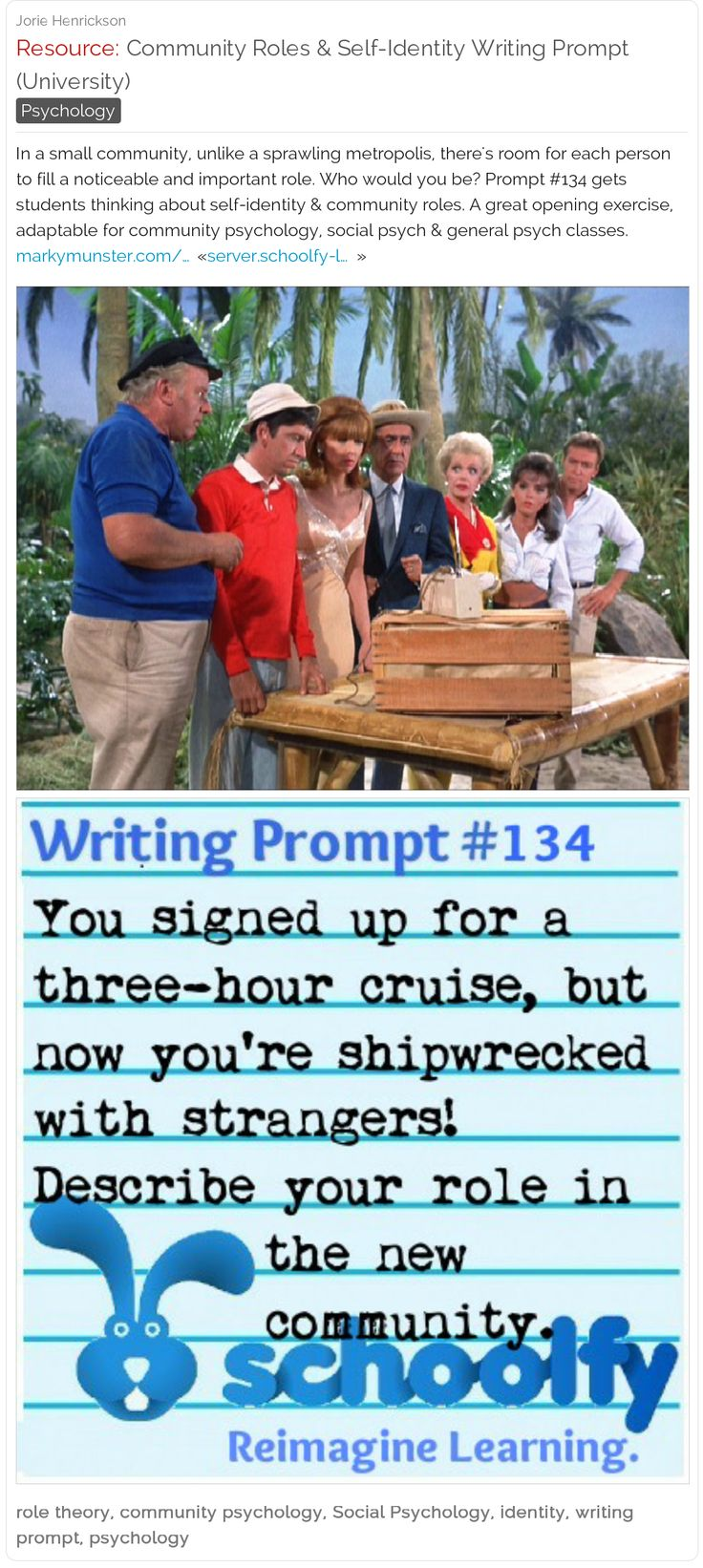Community Roles & Self-Identity Writing Prompt (University): This prompt gets students thinking about self-identity & community roles. A great opening exercise, adaptable for community psychology, social psych & general psychology classes. #firstday #backtoschool #writingprompt #gilligansisland